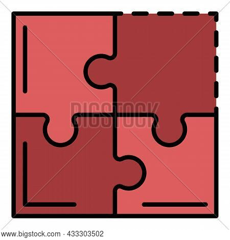 Teamwork Puzzle Icon. Outline Teamwork Puzzle Vector Icon Color Flat Isolated