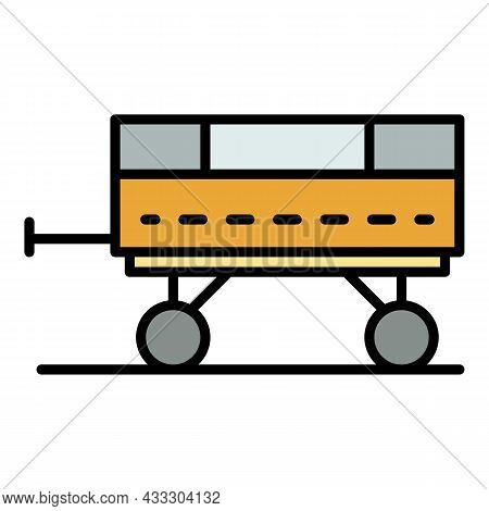 Tractor Trailer Icon. Outline Tractor Trailer Vector Icon Color Flat Isolated