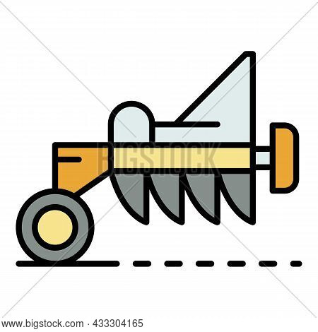 Tractor Plough Icon. Outline Tractor Plough Vector Icon Color Flat Isolated