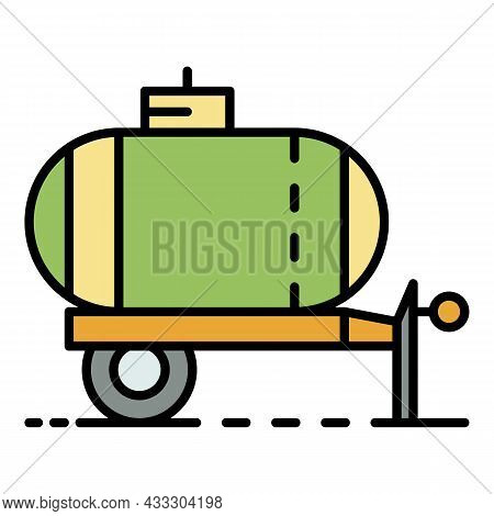 Trailer Water Tank Icon. Outline Trailer Water Tank Vector Icon Color Flat Isolated