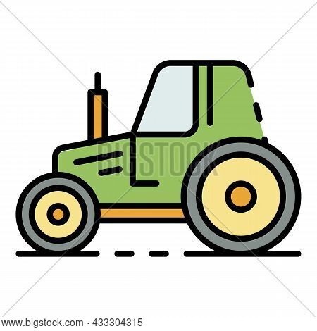 Village Tractor Icon. Outline Village Tractor Vector Icon Color Flat Isolated