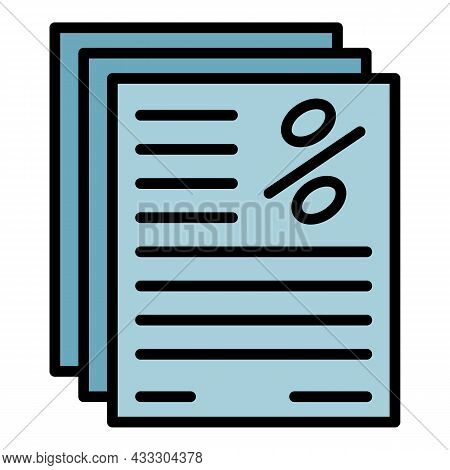Percent Finance Report Icon. Outline Percent Finance Report Vector Icon Color Flat Isolated