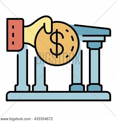 Deposit Money Bank Icon. Outline Deposit Money Bank Vector Icon Color Flat Isolated