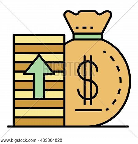 Increase Money Icon. Outline Increase Money Vector Icon Color Flat Isolated