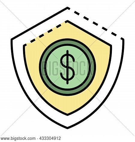 Money Protect Deposit Icon. Outline Money Protect Deposit Vector Icon Color Flat Isolated
