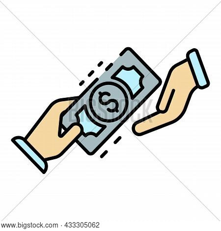 Hand Money Exchange Icon. Outline Hand Money Exchange Vector Icon Color Flat Isolated