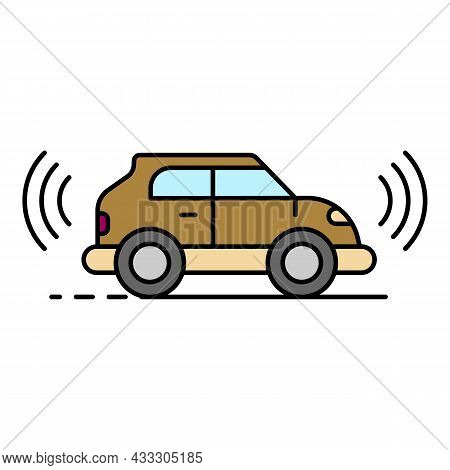 Electric Self Driving Car Icon. Outline Electric Self Driving Car Vector Icon Color Flat Isolated