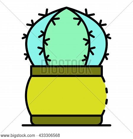 Spike Cactus Icon. Outline Spike Cactus Vector Icon Color Flat Isolated