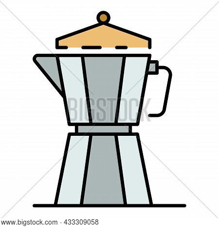 Metal Coffee Kettle Icon. Outline Metal Coffee Kettle Vector Icon Color Flat Isolated