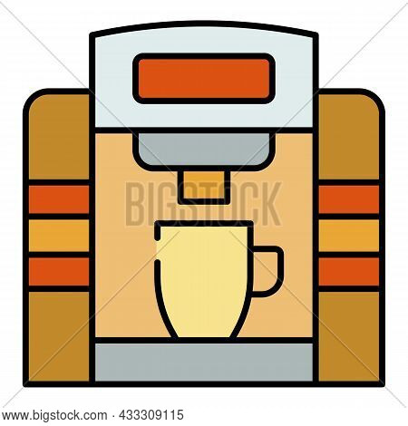 Tasty Coffee Machine Icon. Outline Tasty Coffee Machine Vector Icon Color Flat Isolated