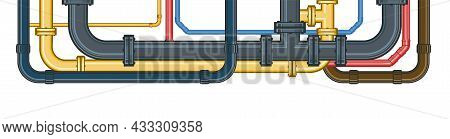 Water Fittings. Pipeline For Various Purposes. Different Colors Of Metal And Plastic Pipes. Illustra