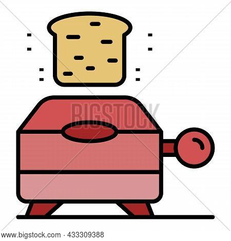 Electric Toaster Icon. Outline Electric Toaster Vector Icon Color Flat Isolated