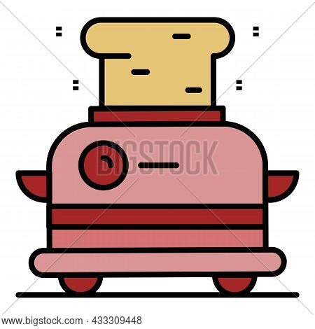 Vintage Toaster Icon. Outline Vintage Toaster Vector Icon Color Flat Isolated