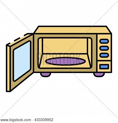 Open Modern Microwave Icon. Outline Open Modern Microwave Vector Icon Color Flat Isolated
