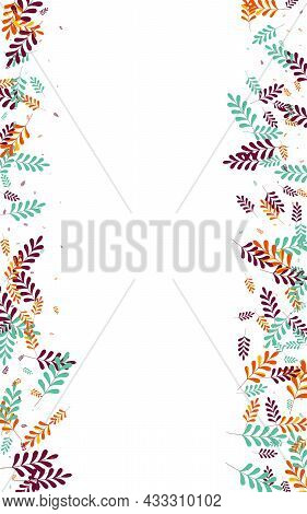 Green Leaves Background White Vector. Herb Paper Texture. Orange Plant. Red Foliage Wood. Forest Set