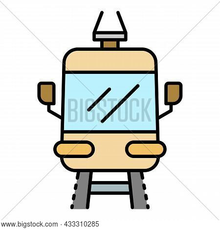 Front Tramway Icon. Outline Front Tramway Vector Icon Color Flat Isolated