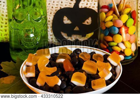 Festive Home Sweet Snacks And Themed Decorations For Halloween. Halloween Themed Food And Decor. Hal