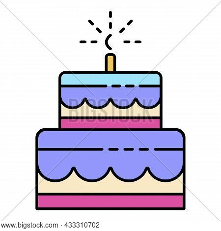 Celebration Birthday Cake Icon. Outline Celebration Birthday Cake Vector Icon Color Flat Isolated