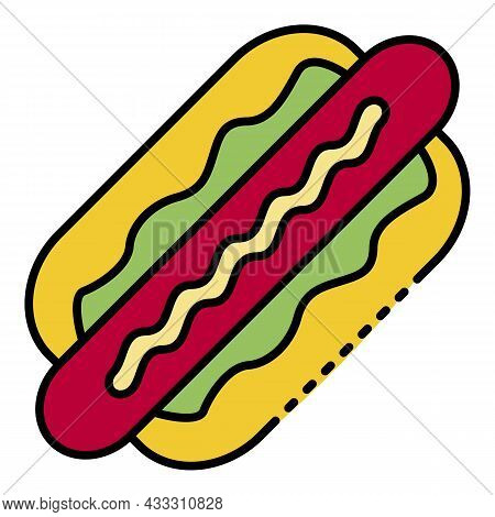 Tasty Hot Dog Icon. Outline Tasty Hot Dog Vector Icon Color Flat Isolated