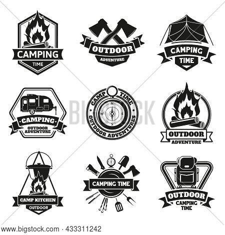 Camping Outdoor Emblems. Touristic Hiking Vintage Outdoor Adventure Labels Isolated Vector Illustrat