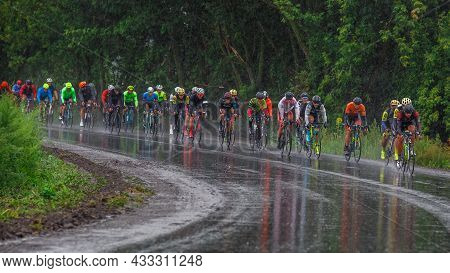 Ukraine. Khmelnitsky. August 29, 2021.group Of Professional Cyclists During The Cycling Race.cycling