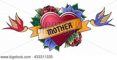 Old School Red Heart Engraving Mom Tattoo. Vintage Tattoo Heart, Mothers Day Old School Tattoo Symbo