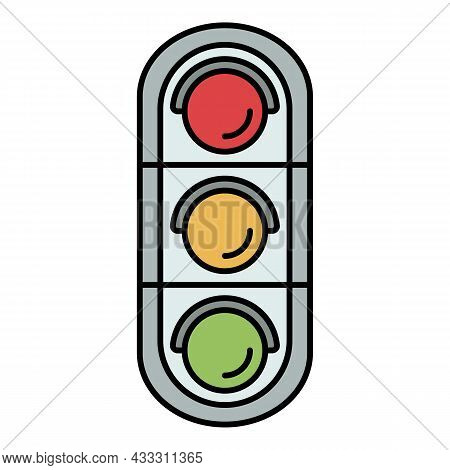 Urban Traffic Lights Icon. Outline Urban Traffic Lights Vector Icon Color Flat Isolated