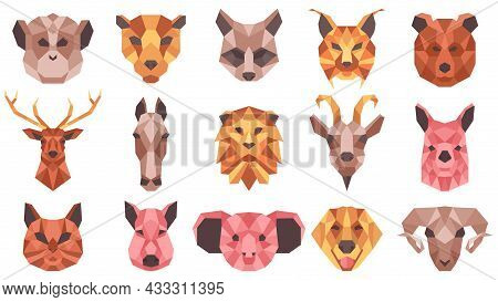 Polygonal Geometric Animals Low Poly Portraits. Wild And Domestic Animals Faces, Cat, Horse, Racoon,