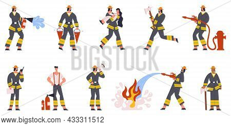 Firefighter Characters Emergency Service Watering Fire And Save People. Firefighting Emergency Situa