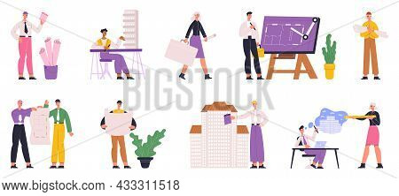 Builders, Engineers, Architects Professional Construction Workers. Architect People Occupation Vecto