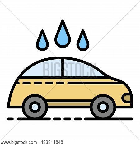 Contactless Car Wash Icon. Outline Contactless Car Wash Vector Icon Color Flat Isolated