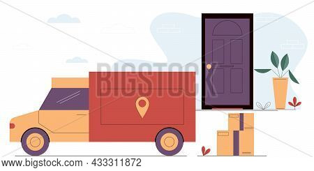 Truck Brings Cardboard Boxes To The Door Of The House.online Delivery Service.express Delivery,fast