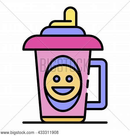 Emoji Sippy Cup Icon. Outline Emoji Sippy Cup Vector Icon Color Flat Isolated