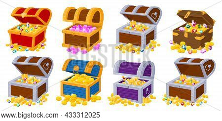 Cartoon Pirate Old Chests Full Of Gold Treasures. Wooden Pirate Trunk With Golden Treasures And Gems