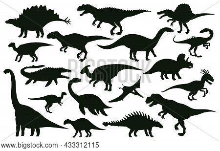 Cartoon Dinosaurs, Jurassic Extinct Dino Raptors Silhouettes. Jurassic Extinct Reptiles, Ancient Rap