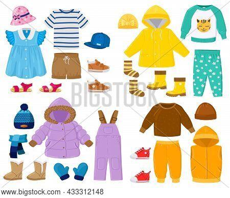 Cartoon Kids Seasonal Winter, Spring, Summer, Fall Clothes. Puffer Jacket, Pants, Shirt, Sandals Chi