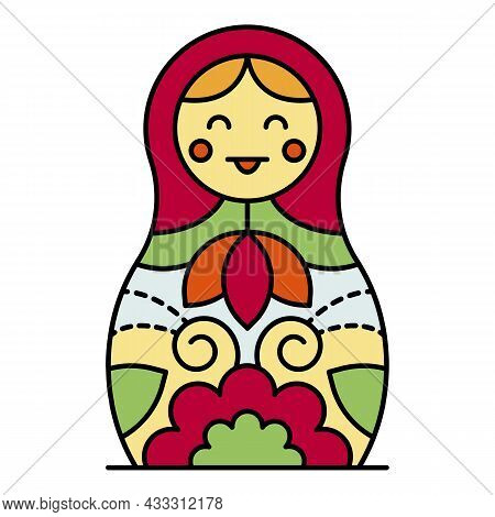 Smiling Nesting Doll Icon. Outline Smiling Nesting Doll Vector Icon Color Flat Isolated