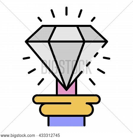 Museum Diamond Icon. Outline Museum Diamond Vector Icon Color Flat Isolated