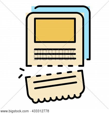 Museum Ticket Icon. Outline Museum Ticket Vector Icon Color Flat Isolated