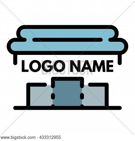 Rome Pillar Logo. Outline Rome Pillar Vector Logo Color Flat Isolated