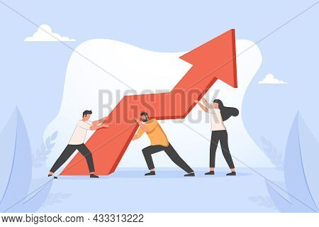 Man And Woman Carrying Ascending Arrow Chart Together. Concept Of Team Effort, Teamwork, Collective