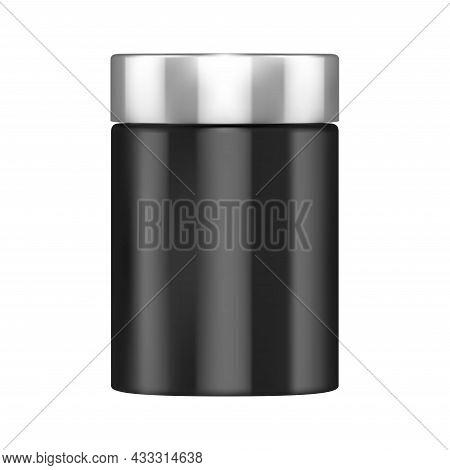 Protein Bottle Mockup. Supplement Powder Jar Blank. Sport Packaging Cylinder, Nutrition Can Glossy C