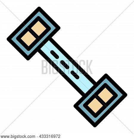 Fitness Barbell Icon. Outline Fitness Barbell Vector Icon Color Flat Isolated