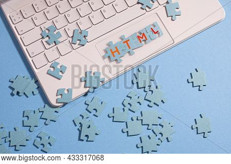 The Puzzle Pieces Are Assembled Into The Word Html,