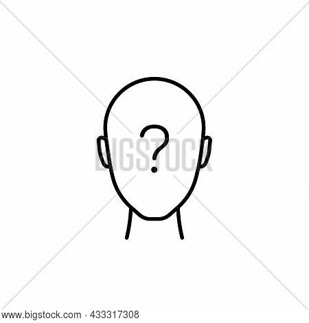 Thin Line Anonymous Black Icon. Concept Of Unsure Man Or Linear Unknown Person. Simple Flat Lineart