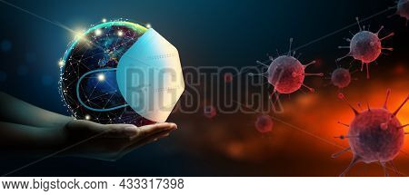 Earth Wearing A Surgeon Mask To Fight Against Corona Virus Or Covid-19 On Abstract Background. World