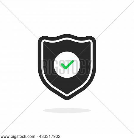 Warranty Icon With Black Shield And Tick. Flat Simple Style Trend Modern Security Logotype Graphic D