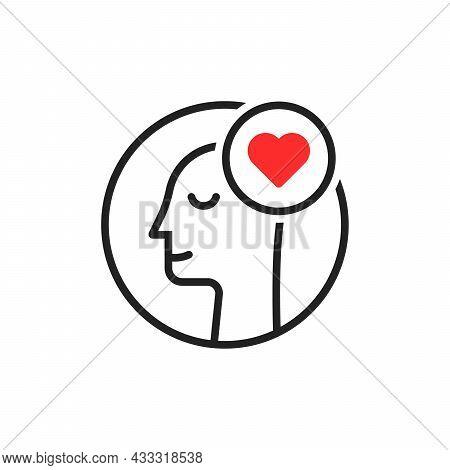 Man In Love Feel Good Linear Icon. Flat Lineart Style Trend Modern Stroke Logotype Graphic Art Desig