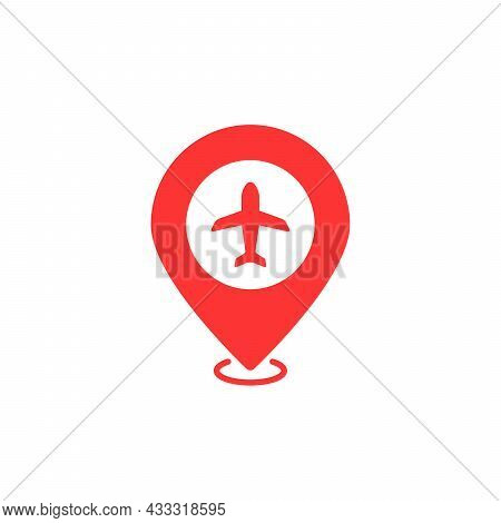 Airport Geotag With Red Map Pin. Flat Style Trend Modern Minimal Logotype Graphic Design Web Element