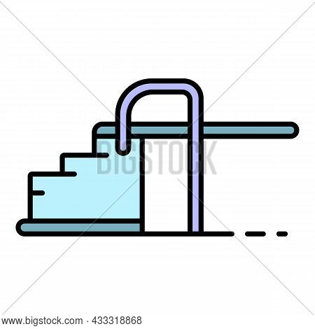 Pool Stairs Icon. Outline Pool Stairs Vector Icon Color Flat Isolated